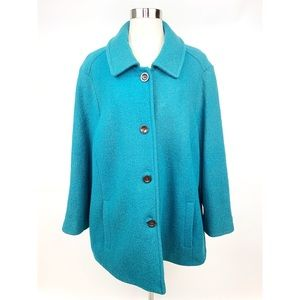 LANDS END Textured Wool Blue Pea Coat Jacket 24W